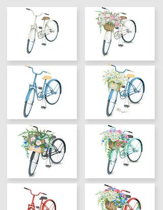 彩绘花卉自行车矢量素材