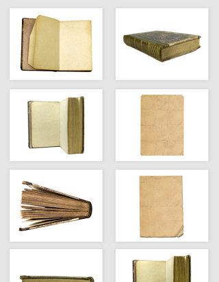 高清免抠复古老旧泛黄书本纸张