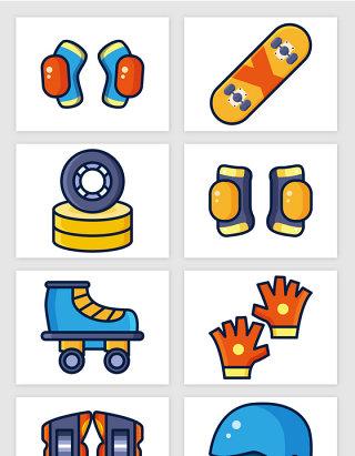 卡通溜冰鞋滑板护膝头盔矢量图形