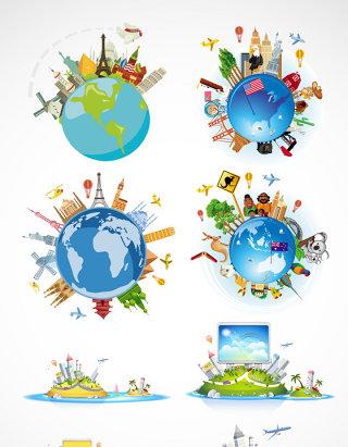 环球旅游地球矢量素材