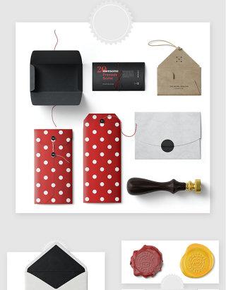 时尚简约信封邮件包装设计样机素材