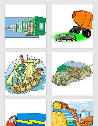 卡通手绘交通工具矢量素材