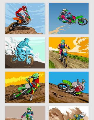 摩托骑手风姿矢量素材