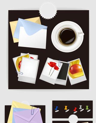 咖啡相片纸信封尺子矢量图形