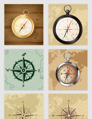 手绘指南针地图的矢量素材