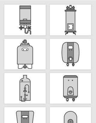 简笔插画烧水器热水器家电矢量图形