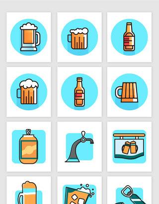 矢量卡通酒吧啤酒元素