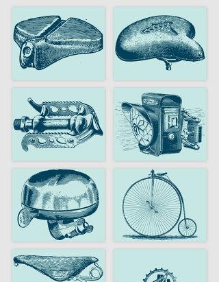 手绘自行车生产矢量素材