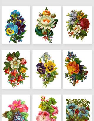 手绘复古水彩花束矢量素材
