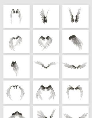 高清免抠白色羽毛翅膀