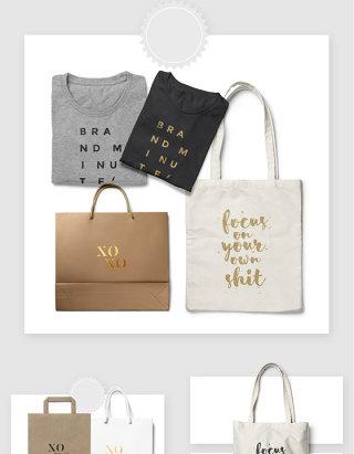 服装品牌购物手拎袋智能贴图样机素材