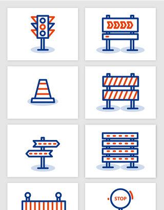 彩色线条手绘高速公路防护栏交通信号灯标识