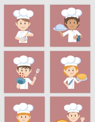 扁平风格不同动作厨师人物