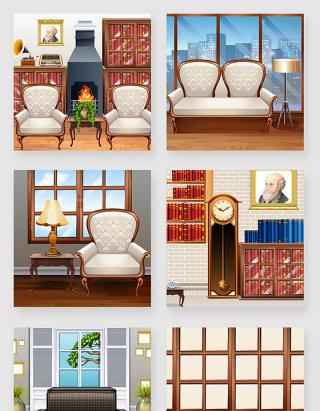 欧式风格室内家具客厅场景矢量素材