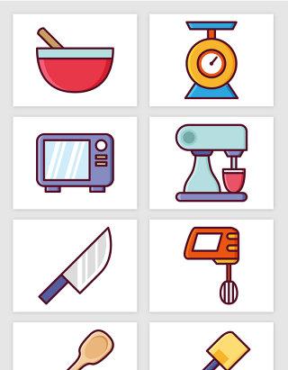 厨房刀具厨具彩色插画矢量图形