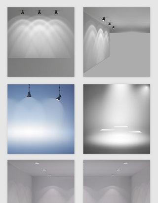 室内墙壁灯光效果矢量素材