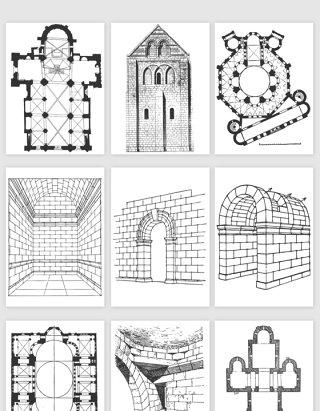 手绘建筑墙面平面图矢量素材
