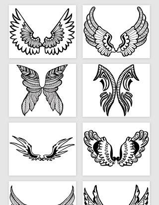 卡通手绘对称的翅膀矢量素材