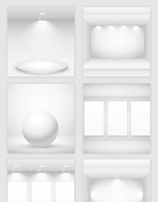 白色空房子的灯光模型矢量素材