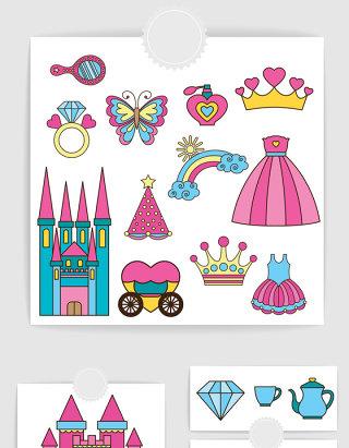 矢量卡通可爱城堡公主元素