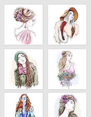 彩绘时尚美女插画矢量素材
