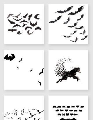 装饰素材蝙蝠剪影素材