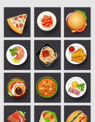 卡通风格美食食物矢量元素