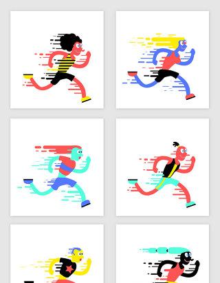 奔跑卡通人物素材