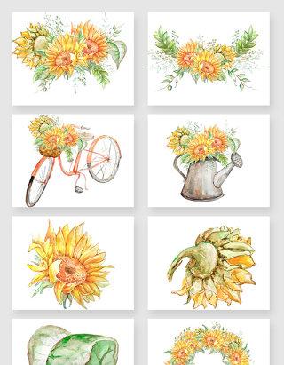 彩绘向日葵矢量素材