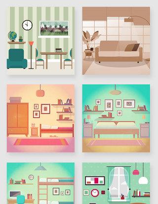 室内客厅房间装饰空间插画素材