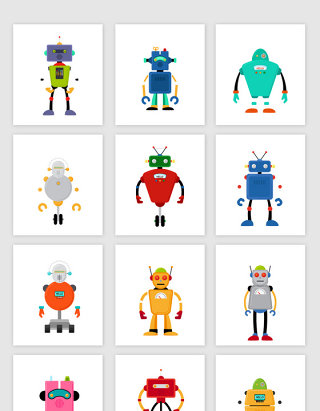卡通玩具机器人矢量元素