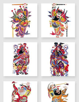 中国风古典中式神仙人物花纹矢量素材
