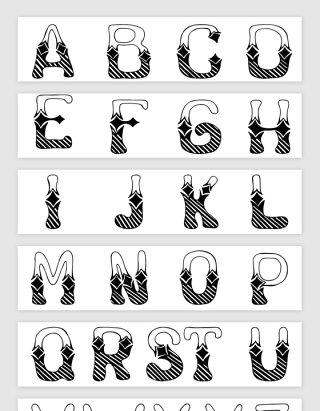 手绘线描英文字母矢量素材