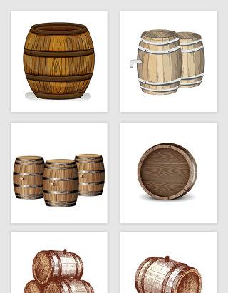 复古手绘木桶相关设计素材