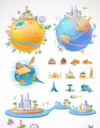 地球城堡环球旅行素材