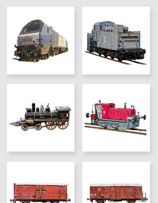高清免抠复古老式火车列车素材