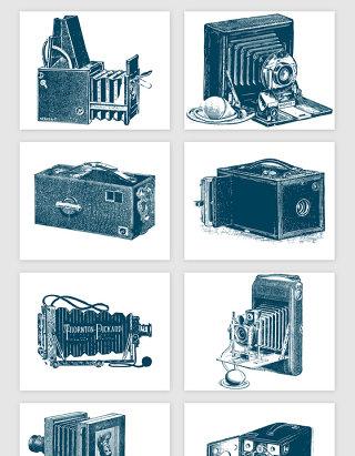 手绘古董相机矢量素材