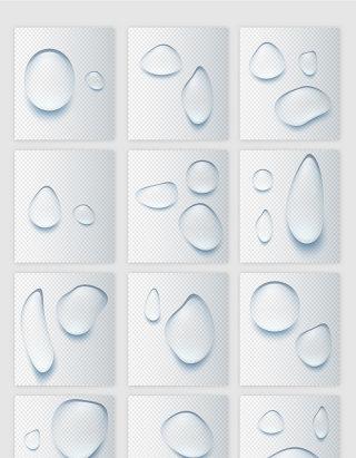 通透水珠水滴矢量素材