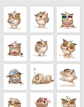 卡通猫头鹰表情包矢量素材