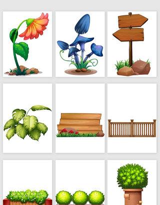 手绘风格植物矢量元素