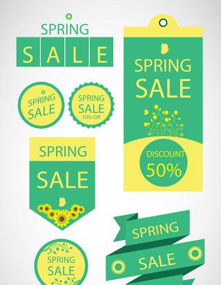 7款春季绿色促销标签矢量素材
