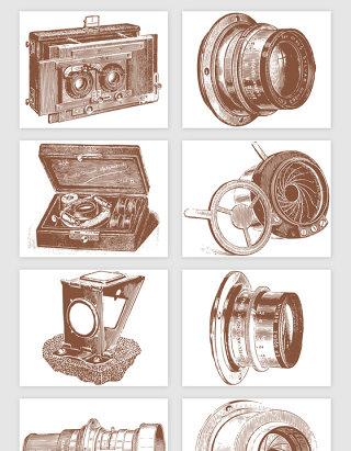 手绘古董相机与胶卷矢量素材