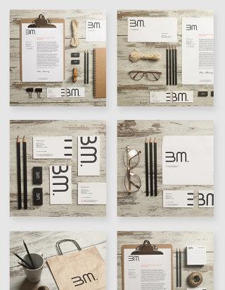 品牌企业办公用品VI设计模板样机素材