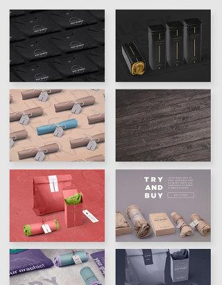 时尚服装品牌包装展示拍摄场景PSD素材