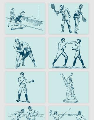 拳击武术体育运动人物矢量素材