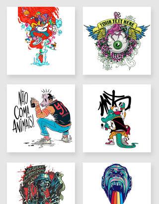 9款涂鸦风格卡通人物素材