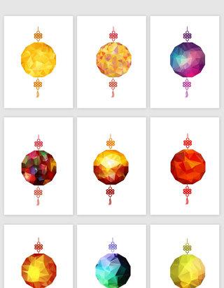 彩色几何质感元宵节砖石灯笼矢量素材