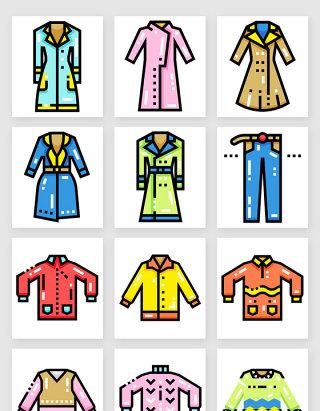网页图标彩色秋季服装服饰矢量素材3