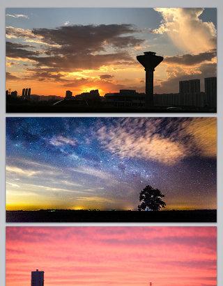 城市黄昏天空背景图