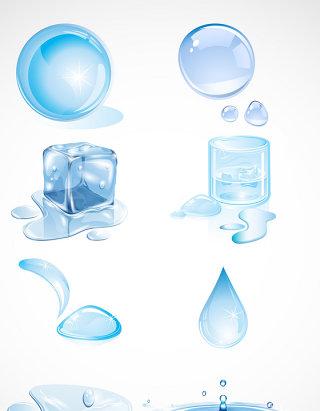 水滴水矢量图形水纹素材